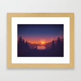 Lakeside Sunset Framed Art Print