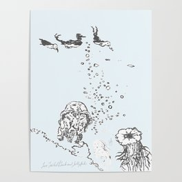 Two Tailed Duck and Jellyfish Pale Blue Poster