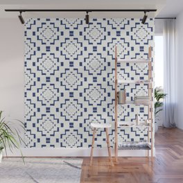 Rough Geometric Aztec Print - Navy Blue Wall Mural