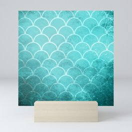 Grunge textured large scallops in limpet blue Mini Art Print