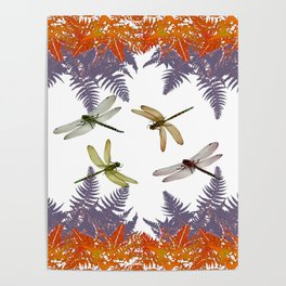 DRAGONFLIES & PURPLE-BROWN WOODLAND FERNS  ABSTRACT Poster