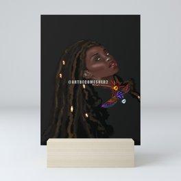 Scarab Goddess  Locs and Love Bug Mini Art Print