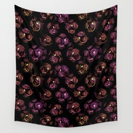 Abstract floral purple and black pattern. Wall Tapestry