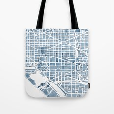 Washington DC Blueprint watercolor map Tote Bag