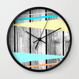 Colored arrows on wood texture Wall Clock
