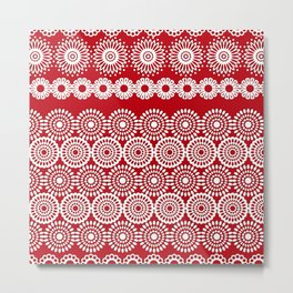 Cute Red Crochet Lace Flowers  Metal Print