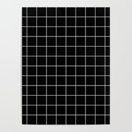 Grid Pattern Line Stripe Black and White Minimalist Geometric Stripes Lines Poster