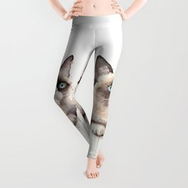 Grumpy Watercolor Cat Animals Meme Geek Art Leggings