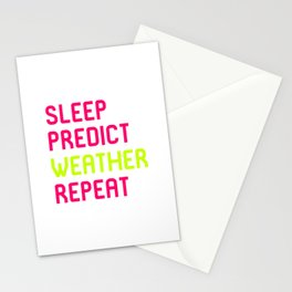 Sleep Predict Repeat Meteorologist Stationery Cards