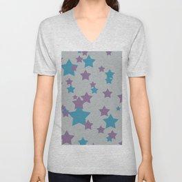 Stars light purple grey Design Unisex V-Neck