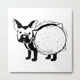 Boston Terrier Cheeseburger Metal Print