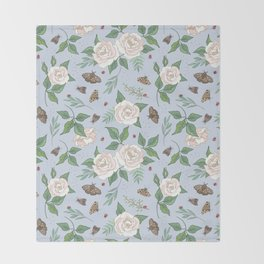 Roses, Moths and Ladybirds Throw Blanket