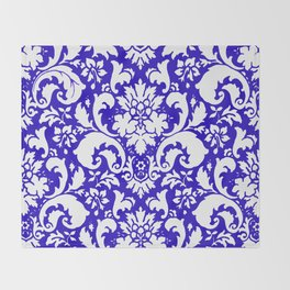 Paisley Damask Blue and White Throw Blanket