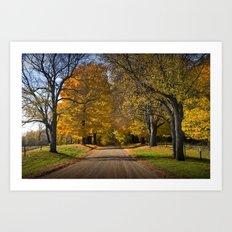 Rural country gravel road in Autumn Art Print