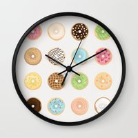 donut Wall Clocks featuring Donut by Céline Dscps