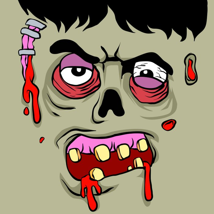 Cartoon Zombie face Duvet Cover