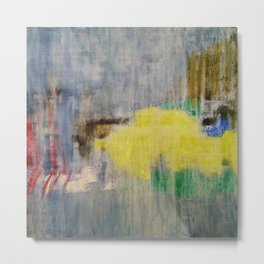Subliminal Grey. Grey, Rain, Water, Car, Abstract, Blue, Jodilynpaintings Metal Print