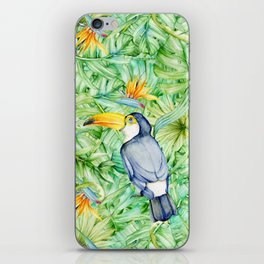 Toucan Tropical Leaves Pattern iPhone Skin