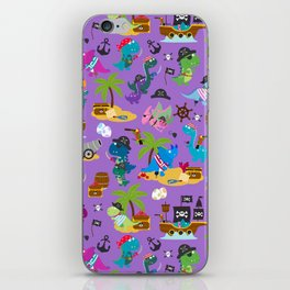Dinosaur Pirates Purple Pattern iPhone Skin
