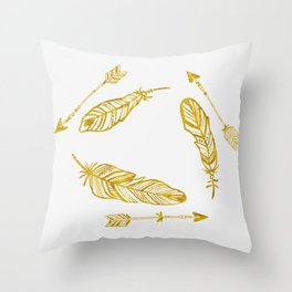 Golden Feathers and Arrows Throw Pillow