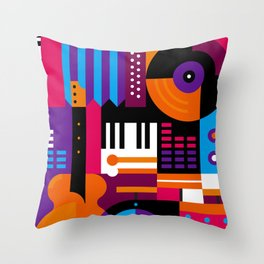 Music Mosaic Throw Pillow