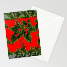 Decorative  Red & Grey Tropical Botanical Green Foliage Stationery Cards