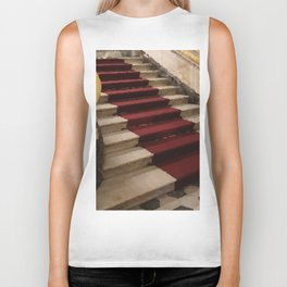 Stairs with red carpet Biker Tank