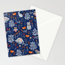 Fairy forest with animals and birds. Raccoons, owls, bunnies and little chick. Stationery Cards