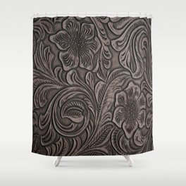 Distressed Smoky Tooled Leather Shower Curtain
