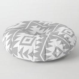 Aztec Symbol Pattern White on Gray Floor Pillow