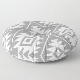 Aztec Symbol Pattern White on Gray Floor Pillow