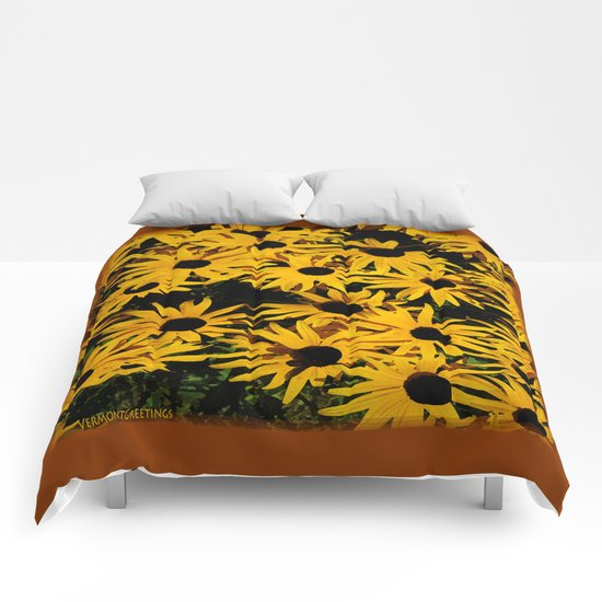 Sunshine Black Eyed Susan Flower Blossoms Comforters