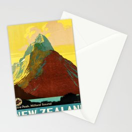 retro New Zealand retro poster Stationery Cards