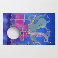 drums Area & Throw Rugs featuring Octopus Playing Drums - Blue by Ornaart