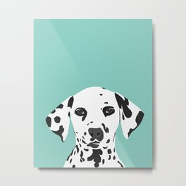 Dalmatian cute puppy dog black and white mint pastel gender neutral pet owner gifts love animals Metal Print