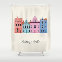 cities Shower Curtains featuring Vector Cities - Notting Hill by Gloria Ciceri