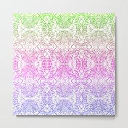 Color Gradient Floral Doodle Pattern 2 Metal Print