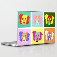 border collie Laptop & iPad Skins featuring Border Collie Pop Art by Pound Designs