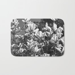 Black And White Flowers In The Sun Bath Mat