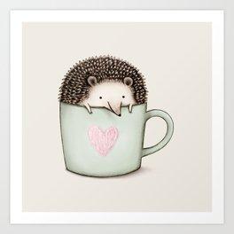 Hedgehog in a Mug Art Print