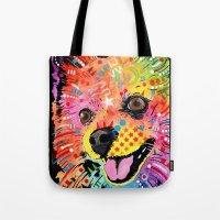 pomeranian Tote Bags featuring Pomeranian dog by trevacristina