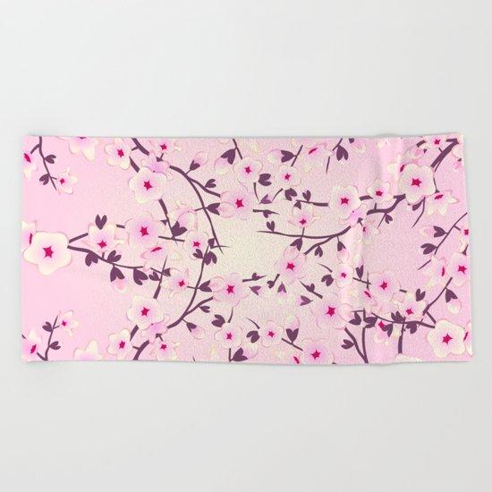 Cherry Blossoms Pink Beach Towel