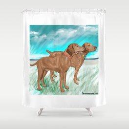 Vizslas by the Sea Shower Curtain
