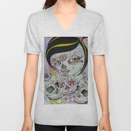 Lady Calavera - Day of the Dead Girl Pin Up Art Unisex V-Neck