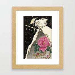 Bird and Peony Japanese Woodcut Framed Art Print