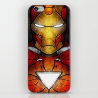 mandie manzano iPhone & iPod Skins featuring The Iron Man by Mandie Manzano