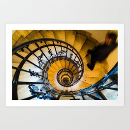 Man on a staircase in St Stephens Basilica Budapest Art Print