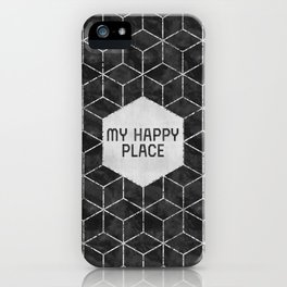 GRAPHIC ART SILVER My happy place | black iPhone Case