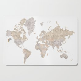 """World map in gray and brown watercolor """"Abey"""" Cutting Board"""