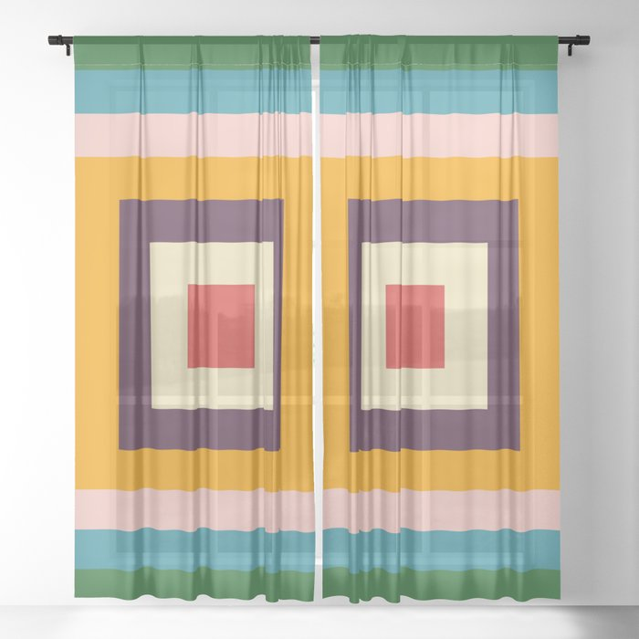 Retro Colored Square Space Sheer Curtain